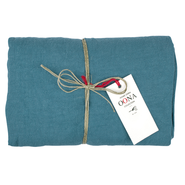 drap housse tealblue 100% lin OONA Home
