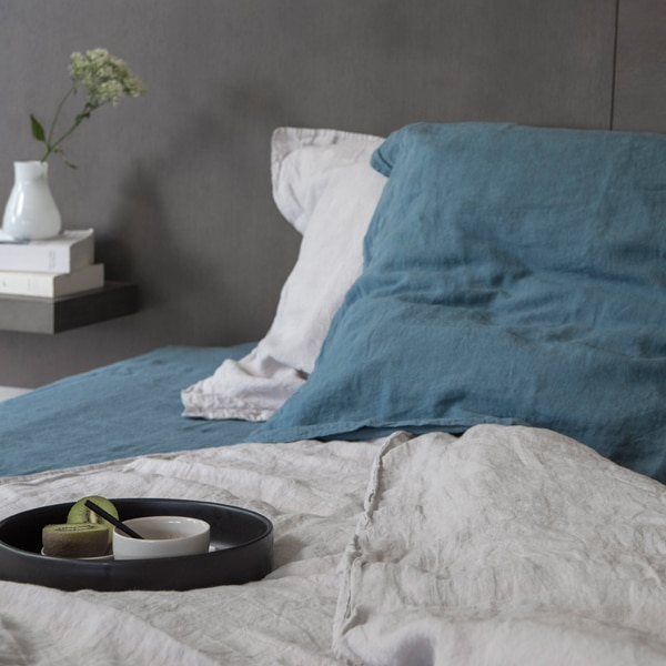 drap housse 100 coton lav tealblue oona home. Black Bedroom Furniture Sets. Home Design Ideas