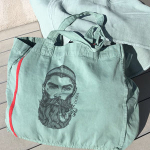 beach bag green sage tatoue homme OONA Home